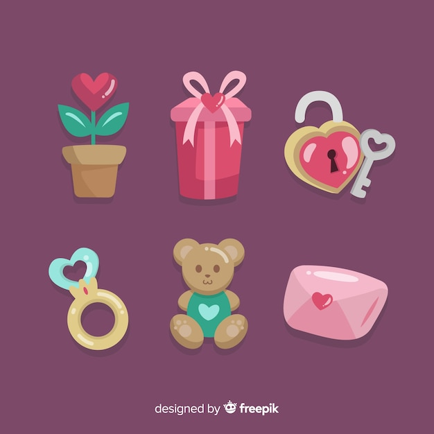 Colorful valentine elements collection Free Vector
