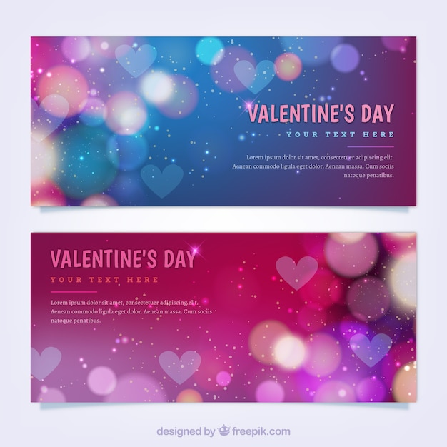 Colorful valentine's day banners with bokeh effect Free Vector