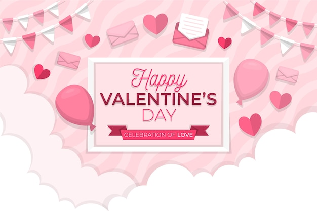 Colorful valentines day background Free Vector