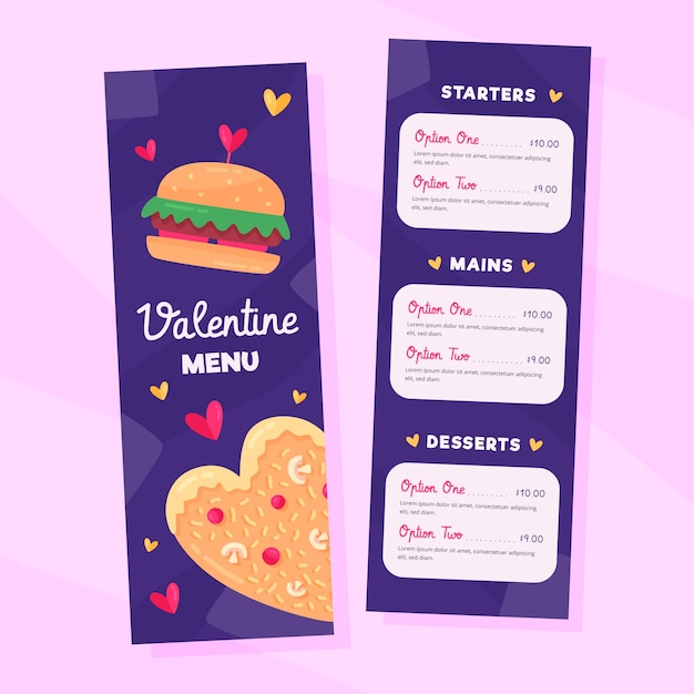 Colorful valentines day menu template Free Vector