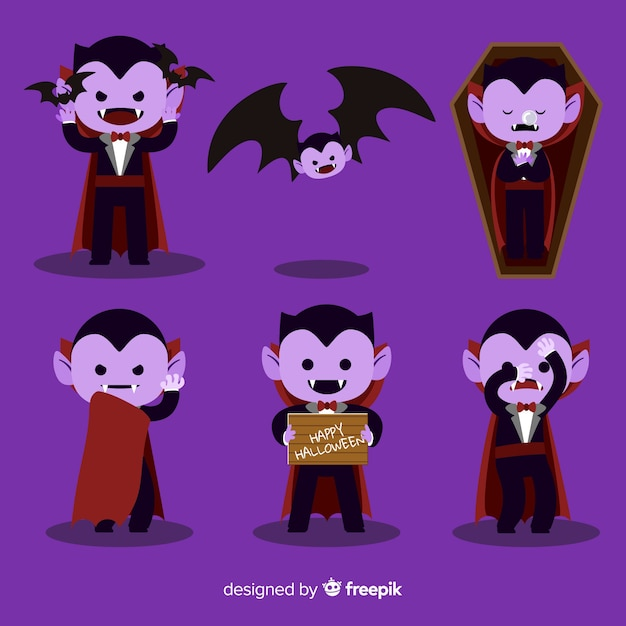 Colorful vampire character collection with flat design Free Vector