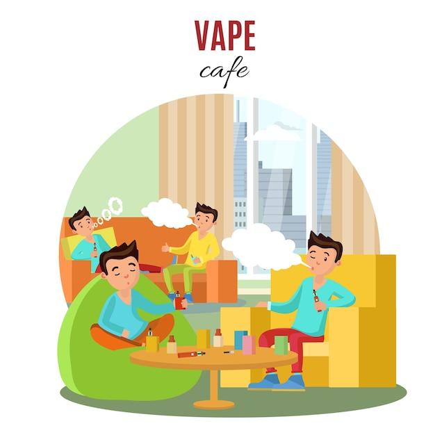 Colorful vape cafe concept Vettore gratuito