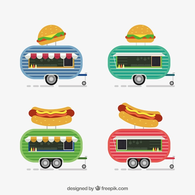 Colorful variety of flat food trucks