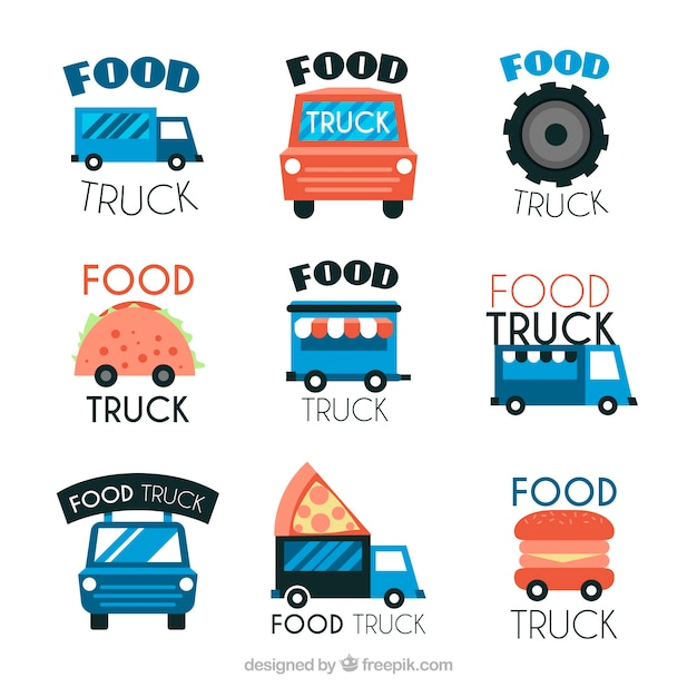 Colorful variety of fun food truck logos