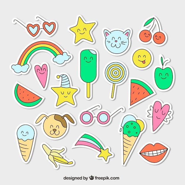 Colorful variety of hand drawn stickers