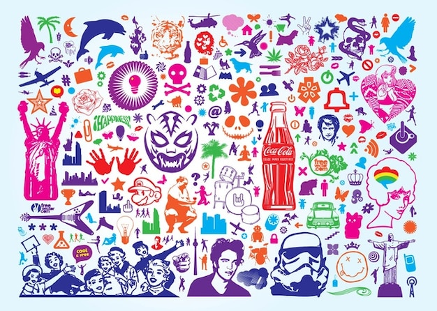 Colorful various free icons Free Vector