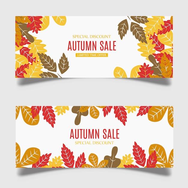 Colorful vector autumn banner design Premium Vector
