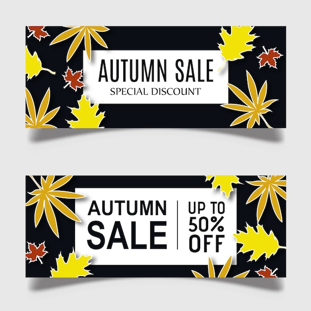 Colorful vector autumn banner design Free Vector