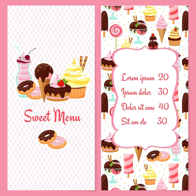 Colorful vector dessert menu for restaurants with a framed price list surrounded by ice cream  candy  sweets  pastries and desserts on one half and the text sweet menu on the other Free Vector