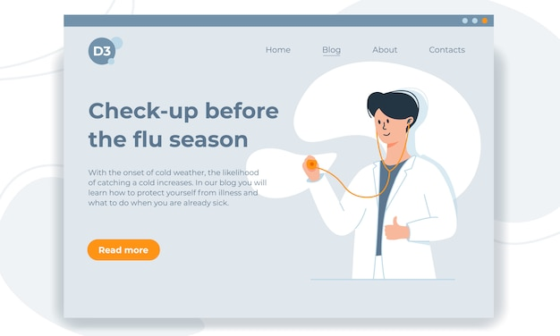 Colorful vector first screen template with friendly young doctor, holding stethoscope. online diagnosis concepts. Premium Vector