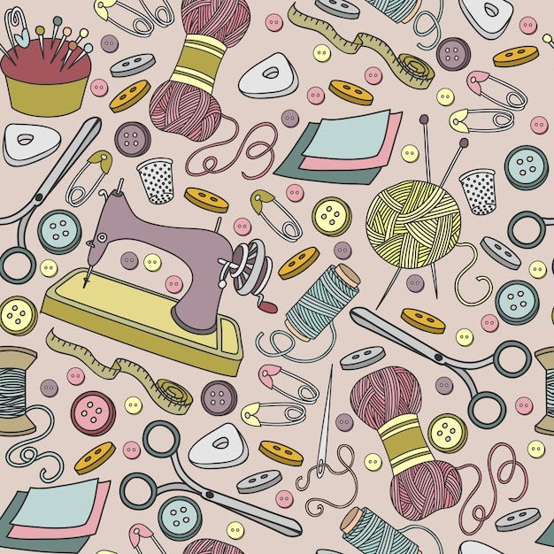Colorful vector hand drawn seamless pattern of object hand made cartoon doodle Premium Vector
