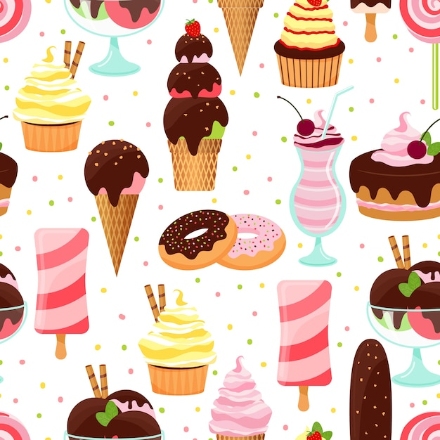 Colorful vector ice cream and sweets seamless background pattern with ice cream cones  sundae and parfait desserts  doughnuts  cake with cherries  cupcakes  and milkshake in square format Free Vector