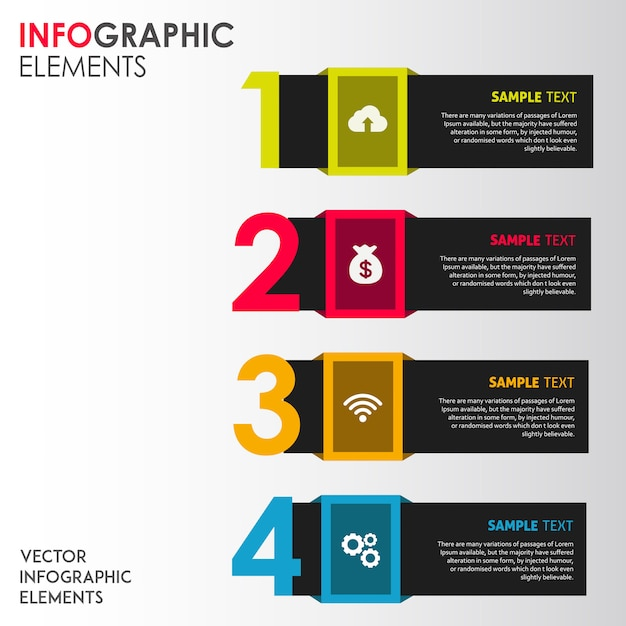 Colorful vector infographic designs Free Vector