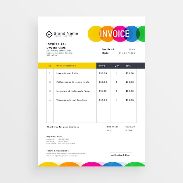 Colorful Vector Invoice Template Design Vector Free Download