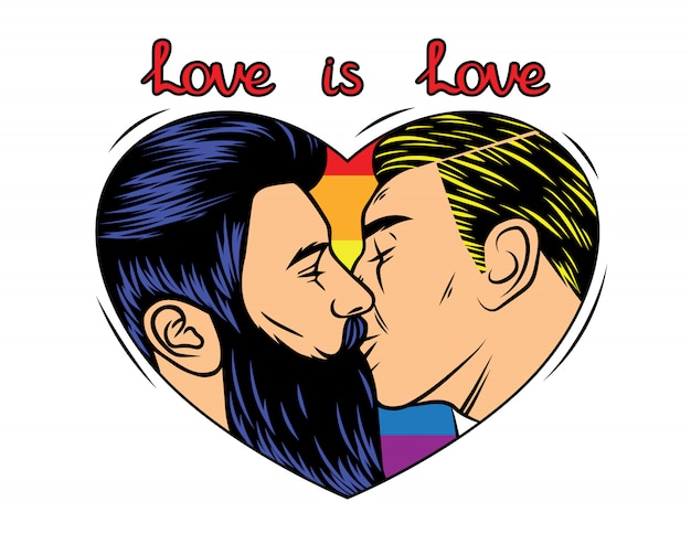 Colorful vector  print design with kissing homosexual couple. rainbow background with text Premium Vector