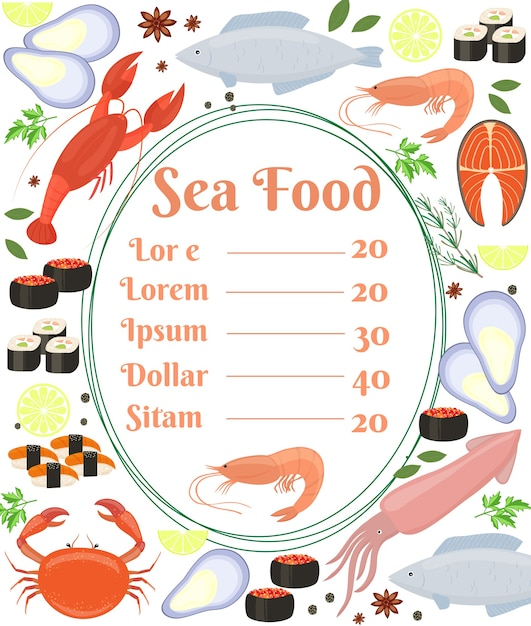 Colorful vector seafood menu poster with a central frame with text and a shrimp surrounded by fish  cuttlefish  calamari  lobster  crab  sushi  shrimp  prawn  mussel  salmon steak and herbs Free Vector