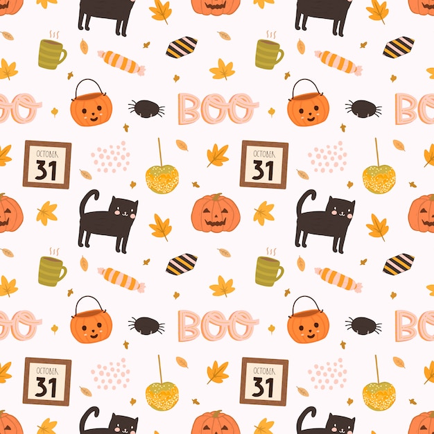 Colorful vector seamless pattern for halloween in hand drawn style. Premium Vector