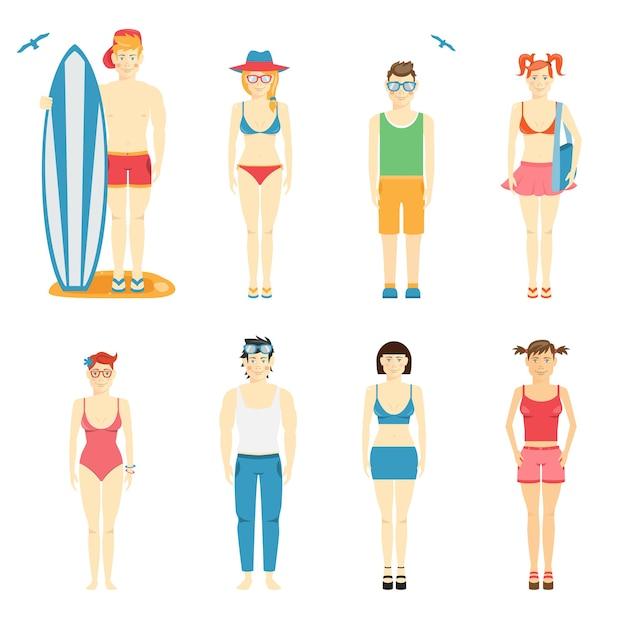 Set vettoriale colorato di personaggi di ragazzo e ragazza in abbigliamento estivo e costumi da bagno per la spiaggia con una tavola da surf e body board Vettore gratuito