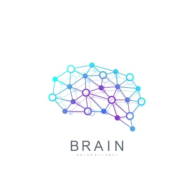 Colorful vector template brain logo