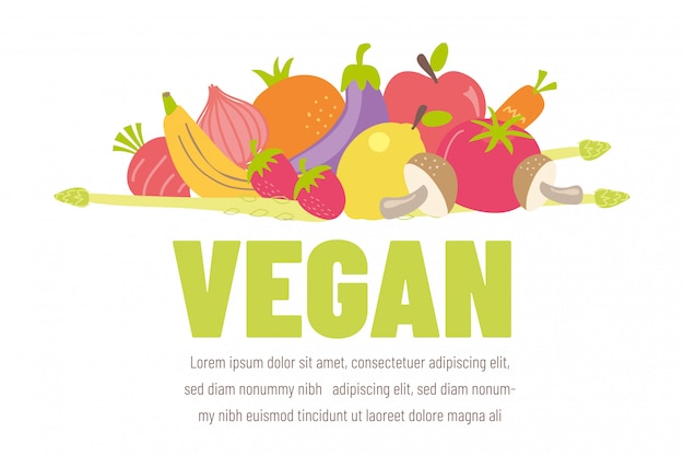 Colorful vegan banner with flat vegetable icons Premium Vector