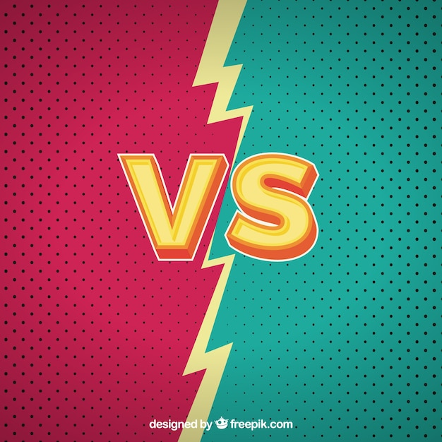 Colorful versus background with lightning bolt Free Vector