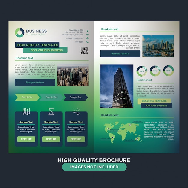 Colorful vibrant brochure for business Free Vector