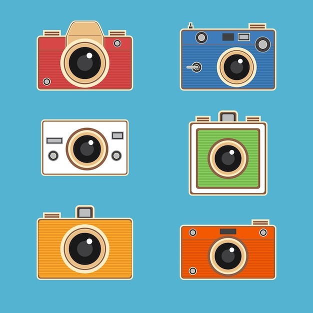 Colorful vintage camera collection