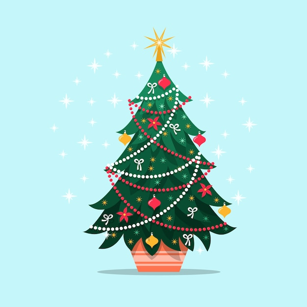 Colorful vintage christmas tree Free Vector
