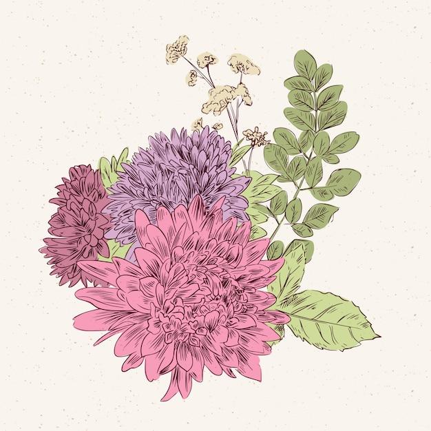 Colorful vintage floral bouquet Free Vector