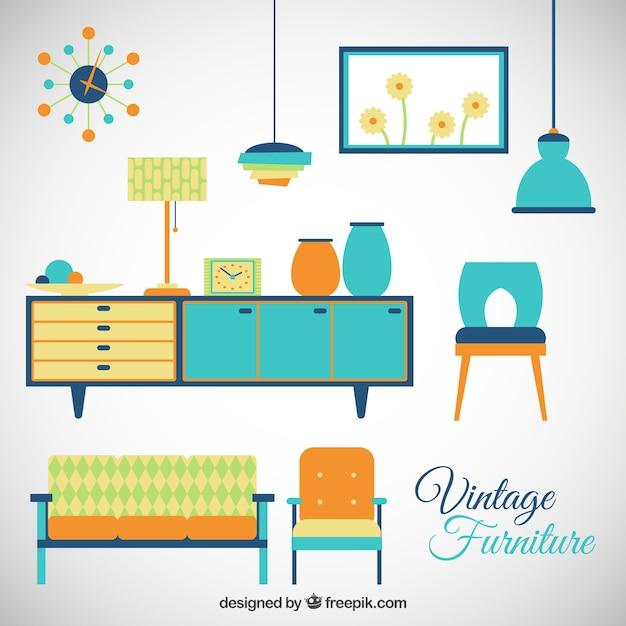 Colorful Vintage Furniture Vector Free Download
