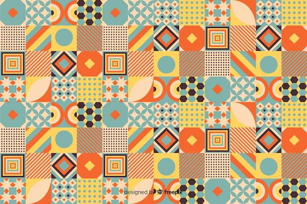 Colorful vintage geometric mosaic background Free Vector