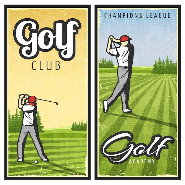 Colorful vintage golf banners Free Vector