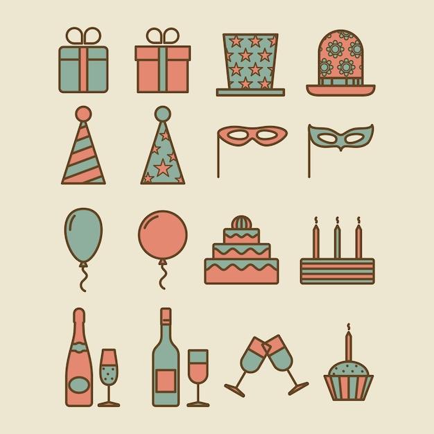 Colorful vintage party icons Premium Vector