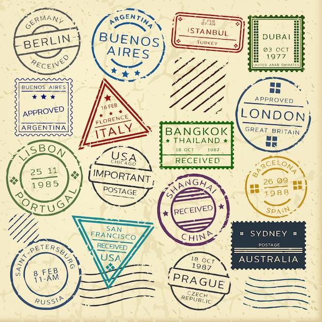 Set di francobolli d'epoca colorati Vettore gratuito