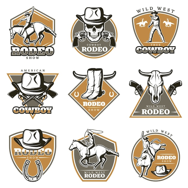 Colorful vintage rodeo logos set Free Vector
