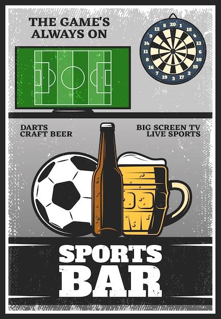 Poster colorato vintage sport bar Vettore gratuito