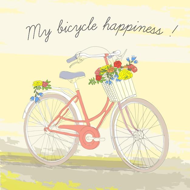 화려한 빈티지 봄 자전거 포스터 무료 벡터