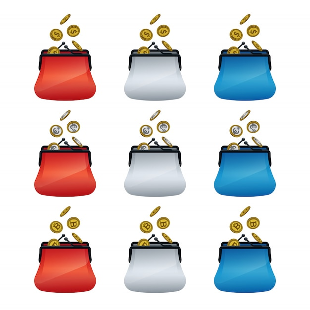 Colorful wallet icons with coins Premium Vector