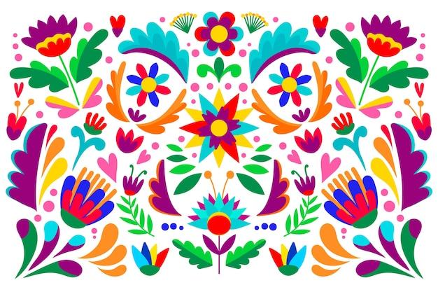 멕시코 개념으로 화려한 벽지 무료 벡터