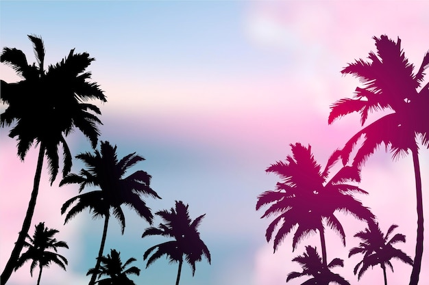 Colorful wallpaper with palm silhouettes concept Free Vector