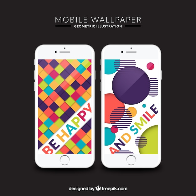 Colorful wallpapers of squares and circles for mobile