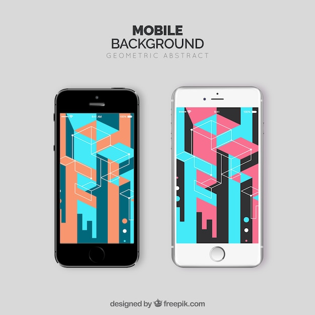 Colorful wallpapers with geometric shapes for mobile