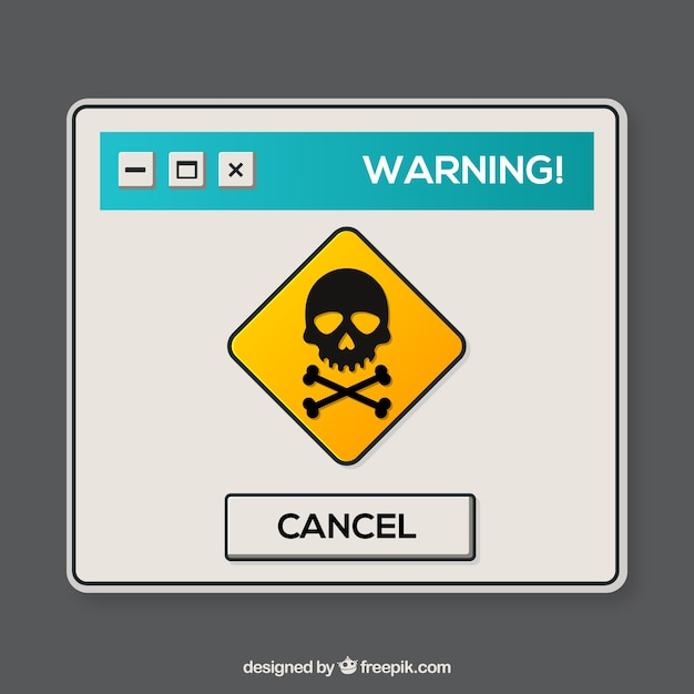 Colorful warning pop up with flat design Free Vector