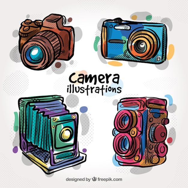 Colorful water color camera collection