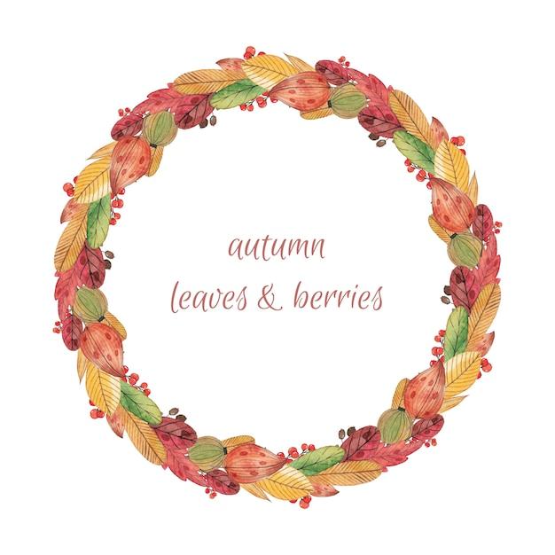 Colorful watercolor autumn wreath Premium Vector