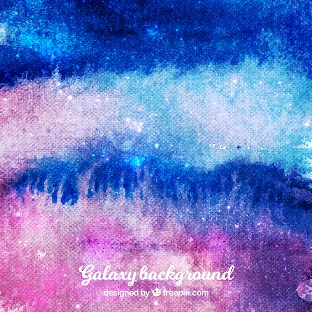 Colorful watercolor background of galaxy
