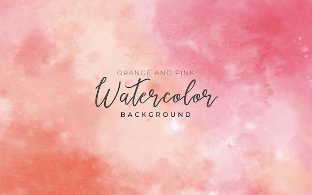 화려한 수채화 배경 오렌지와 핑크 무료 벡터