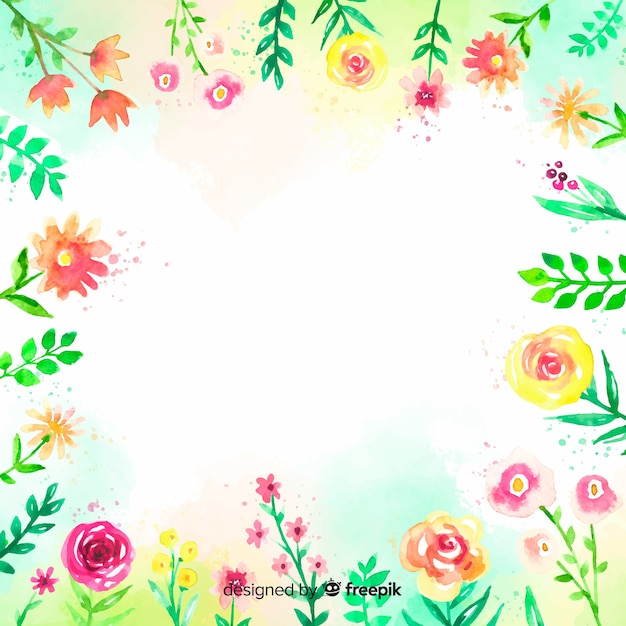 Colorful watercolor background with flowers Free Vector