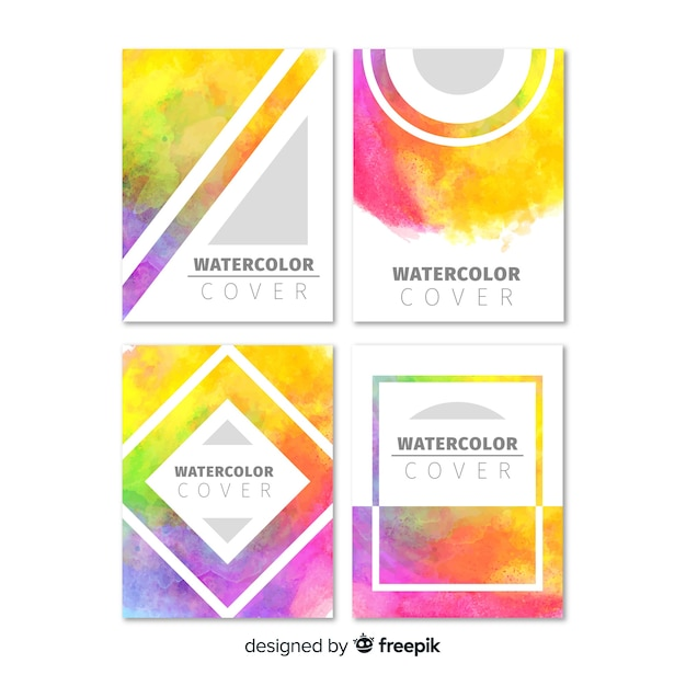 Colorful watercolor brochure template Free Vector