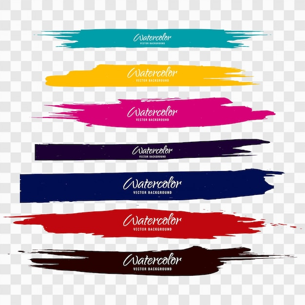 Colorful watercolor brush strokes Free Vector